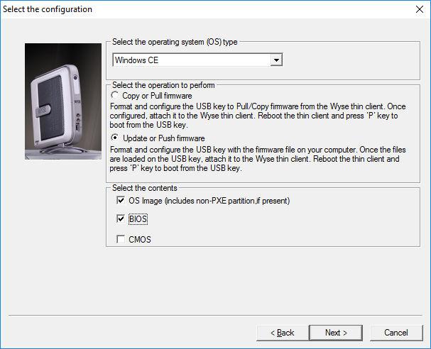 Wyse USB Imaging program select the OS