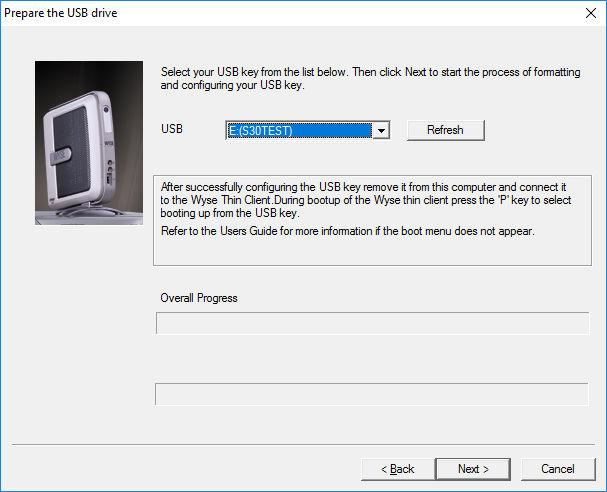 Wyse USB Imaging program select the USB drive