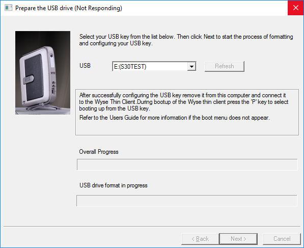 Wyse USB Imaging program Windows 10 run