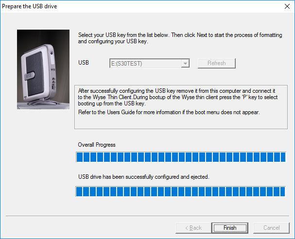 Wyse USB Imaging program finished